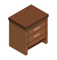 wood drawer icon isometric style vector image vector image