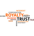 word cloud - royalty trust vector image vector image