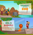 zoo visitors horizontal banners vector image vector image