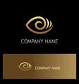 eye optic lens gold logo vector image