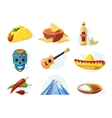 icon set with traditional mexican ellements vector image