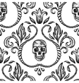 Vintage seamless ornament with skull vector image