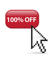 100 Off Button Click vector image vector image