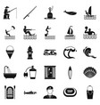 aquatic icons set simple style vector image vector image