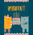 birthday greeting card creative design with cat vector image