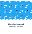 Blue flowers fancy backdrop pattern vector image vector image