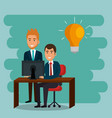 businesspeople in the office with e-mail marketing vector image