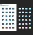 calendar icons light and dark theme vector image