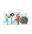 cinema production process tiny cameraman making vector image
