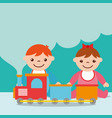 cute toddler boy and girl with train wagons toy vector image