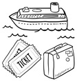 doodle travel cruise ship vector image vector image