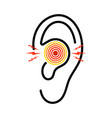 ear icon with pain otitis from infection earache vector image