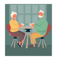 elderly couple drinking tea at table happy vector image