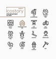 fire department - line design style icons set vector image