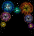 Fireworks with star on black background vector image vector image