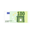 flat simple one hundred euro banknote on white vector image vector image