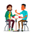 friends in cafe two man drinking coffee vector image