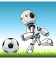 funny kid robot playng with ball vector image