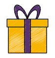 gift box wrapped bow ribbon decoration vector image