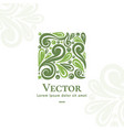 green organic emblem in the shape of a square vector image vector image