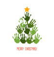 handprint christmas tree with hand drawn star vector image vector image