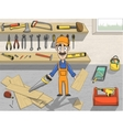 Happy carpenter character at work vector image vector image