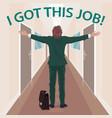 happy new employee enjoys to got job vector image vector image