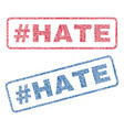 hashtag hate textile stamps vector image vector image