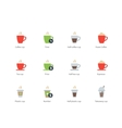 Hot Coffee Cup color icons on white background vector image vector image