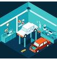 Isometric 3d garage car repair vector image