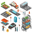 isometric car parking icon set vector image vector image