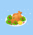 isometric plate with roasted turkey on white vector image vector image
