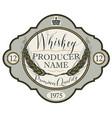 label for whiskey with ears of barley vector image vector image