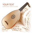 Late baroque era lute with musical notes vector | Price: 1 Credit (USD $1)