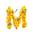 letter m hellish flames and sinners font fiery vector image vector image