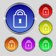 Lock icon sign Round symbol on bright colourful vector image vector image