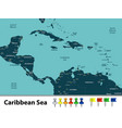 map of caribbean sea vector image vector image