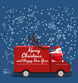 merry christmas santa claus van delivering gifts vector image vector image