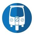 motor rickshaw transport tricycle blue circle vector image