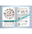 Music brochure modern icons line art style mock vector image vector image