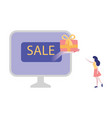 online shopping with sale and vector image vector image