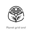 outline planet grid and a leaf icon isolated vector image vector image