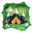 paper summer landscape mountain tent vector image vector image