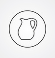 pitcher outline symbol dark on white background vector image vector image