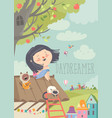 pretty daydreamer sitting with cats on roof vector image