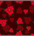 red poinsettia seamless on red background vector image vector image