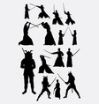 samurai male japanese warrior silhouettes vector image