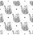seamless pattern black witch cat mystical animal vector image vector image