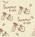 seamless pattern with vintage bicycle vector image