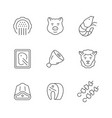 set line icons meat vector image vector image